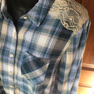 Dressbarn Soft Blue Plaid and Lace Button Blouse